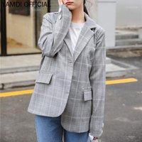 Frauenanzüge Blazer Yamdi Plaid Women Blazer Jacke Weibliche gekerbt Eine Knopffrau Anzug Outwear Koreanische Büro Damen Oberbekleidung 2021 Lauf