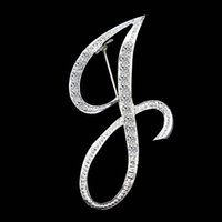 A-Z 26 English Letter Initial Lepal Pins diamond Brooch Badge fashion Jewelry for Women Men Will and sandy Drop Ship