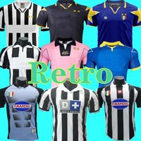 1997 98 Versione retrò Soccer Jersey Star del Piero 10 # inzaghi 9 # Zidane 21 Davids 02 03 97 98 Camicia da calcio retrò Casa Away 2002