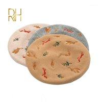 اليدوية الخريف الشتاء بارقات قبعة مطرزة السنجاب 100٪ الصوف البيريه إمرأة القبعات الرسام كاب سيدة قبعة الإناث تصميم RH1