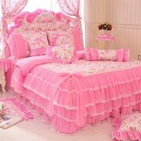 Stile coreano Pink Lace Copriletto Letto Set Set King Queen 4 PZ Principessa Cover Duvet Cover Duvet Gonne Bedclothes Cotton Home Textile 201209