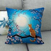 Cherry Blossoms impresión almohada estuche encantador gato patrón lino moda cojines casos decoración del hogar nuevo patrón caliente venta 4 2JW J2