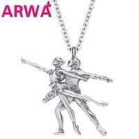 Arwa сплав античный посеребренный элегантный балет танцора девушка ожерелье подвесной цепь металлические украшения для женщин девочек подростки ребенка подарок
