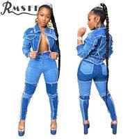 RMSFE 2020 Mujeres sólido Conjunto de otoño ropa de deporte Gimnasio Jean atractivas 2 piezas Conjunto mujeres llenas de la manga principio conjuntos de pantalón y