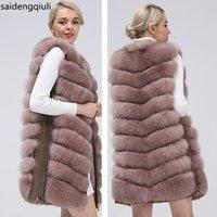Натуральные женские лисицы меховые пальто жилет Новая молния длинное пальто зимнее теплое пальто натуральный мех Истинная лиса жилет куртка бесплатная доставка 201112
