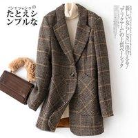 Bella Philosophy Autumn WInter Vintage Women Plaid Suit Woolen Jacket Ladies Slim Casual Wool Blazer Single Breastered Coat