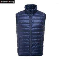 Brother wang мужская утка down жилет куртки 2019 осень зима новая мода повседневная воротник воротник теплый ветрозащитный бренд пальто male1