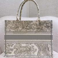 2020 нового шаблон вышитые тигра большой емкости роскошная большая бренд хозяйственной сумка сумка сумка ручной двухсторонний цветок
