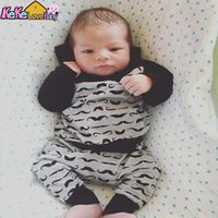 Newborn Baby Boy Clothes Little Mustache Hoodie Tops Pants Cotton New Born Girl Toddler Outfit Long Sleeve Infant Clothing Set