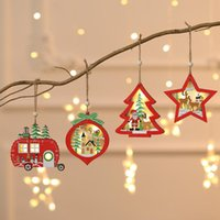 Christmas Decoration Lighted Wooden Ornament Hollow Wooden G...