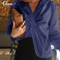 Модные рубашки Женский с длинным рукавом блузки Celmia Дамы сексуальные V-образные вырезы, завязанные навязки.