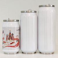 DIY Sublimation Thermos 380ml Duplo Walled Stainless Steel Cola Forma copos isolados a vácuo com tampa de água Garrafa DDA681
