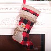 Быстрая доставка Красный и черный сетки плюс бархат Рождественские украшения чулок мультфильм мило животное Рождество кулон подарок мешок F5902