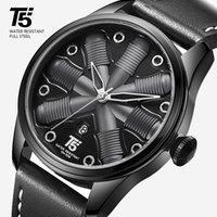 남성용 시계 T5 쿼츠 골드 로즈, 방수 가죽 스트랩, 2019