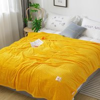 LREA thicken flannel fleece coral seeping blanket for beds p...