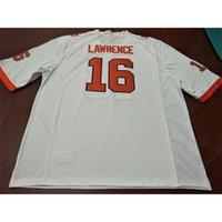 Cheap Размеры S-4XL Оранжевый белый фиолетовый Men Trevor Lavrence # 16 Clemson Tigers College Jersey или пользовательское имя или номер Джерси