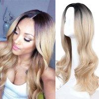 Synthetische Perücken Sinuo Blonde Ombre Für Frauen Lange Wellenförmige Cosplay Haar Pärchen Mittelteil Natürliche täglich Hitzebeständige Faser
