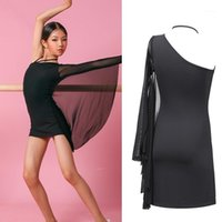 New Children's Dance Dance Dry Dress Oblique Spalla Latin Practice Dress Girls Black Mesh Abiti da competizione DQS47251