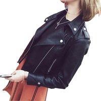 Женская кожаная искусственная девушка Liva девушка PU куртка женская мода яркие цвета черный мотоцикл пальто короткий байкер мягкий женский1