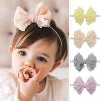 Cute Bow Baby Headbands Soft Lace Nylon Baby Girl Hairband N...
