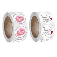 هدية التفاف 500 قطعة / لفة جولة شكرا لك ملصقات الزفاف حزب اليدوية سكرابوكينغ التعبئة والتغليف ختم تسميات القرطاسية ديكور