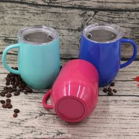12oz Stainless Steel Mugs Eggshell Cup Mug With Handle Outdoor Insulation Cup Double Layer Multicolor Mug Kitchen Bar With Lid BH4175 WXM