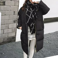 Winter Warm Overcoat Women Zipper Casual Solid Color Long Th...