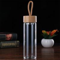 المياه المحمولة كوب طبقة واحدة نظارات العزل الحراري أكواب الخيزران غطاء مع زجاجات المياه الساخن بيع 16BD2 L1