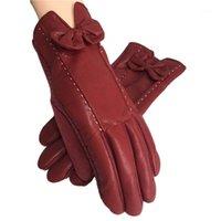 Fünf Finger Handschuhe Indjxnd Frauen Winterlinien Bogenhandschuhe Warm PU Leder Guantes Bowknot Feste Femme Verdicken Handschuh Damen Gloves1