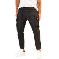 Jeans pour hommes décontractés 100% coton denim hommes cargo noir avec des trotteurs élastiqués Style Bonne offre en gros tendance 2021