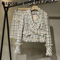 BLLOCUE Tweed Suit set inverno donna oro doppio petto Giacca corta cappotto + tassel mini gonna abito lana 2pcs set di abbigliamento 201123