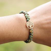 Bracciali di fascino Moda fatta a mano in pietra naturale boho yoga wrap braccialetto braccialetto Braccialetto albero della vita africana japser intrecciata donne regalo uomo regalo