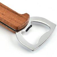 Деревянная ручка брелок открывалка для бутылок нож Pulltap Двойной Откидная Штопор из нержавеющей стали Key Ring Консервооткрыватели Бар Кухня Вино инструмент AAF2769