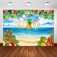 Background Materiale Luau Partito Sfondo Hawaiian Tiki Aloha Pografia tropicale Compleanno estate Bambino Doccia Doccia Decorazione1