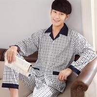 Uomini Pajama Set 100% cotone a maniche lunghe primavera Plaid Uomini pigiama da notte vestito di autunno collare Pijama Maschio Sleepwear due pezzi XXXL 201012
