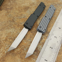 hebilla de aluminio cuchillo de doble acción por un mini-Key llavero satén 440C Tanto hoja de bolsillo plegable del cuchillo cuchillos navidad regalo