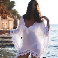 Crochet Sexy Femmes Robes Beach Porter Dentelle Bikini Crochette Crochette Blanc Hollow Out Swim Shakwear Robe de bain