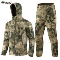 ESDY TAD Gear Tactical Softshell Камуфляж Куртка Куртка Мужчины Водонепроницаемая Водонепроницаемая Мягкая оболочка Открытый Набор Военная Куртка X0124