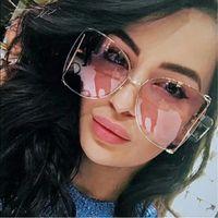 Fashion Oversized Sunglasses Women 2020 Brand Designer Big Square Sun Glasses Pearl Decoration Cat Eye Shades Butterfly Eyewear