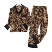 Женская ночная рубашка Высококлассный леопард Pajamas наборы с длинным рукавом набор с длинным рукавом набор ночной желуждающую одежду Pajama femme мягкий искусственный шелковый сатин