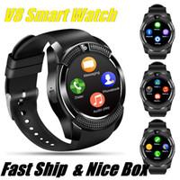 스포츠 남성 스마트 시계 V8 SIM 카드 안드로이드 카메라 둥근 전화 응답은 전화 럭셔리 Smartwatch를 심장 박동 피트니스 추적기와 소매 상자를 다이얼