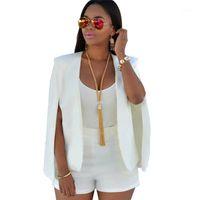 Solapa irregular Outwear Slim Ladies Tops Traje de negocios Otoño Fabala Blazer Capa Cool Cropped1
