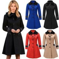 Ladies Woolen Lapel Trench Coats Fashion Trend Long Sleeve L...