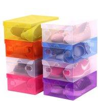 صناديق الأحذية البلاستيكية رشاقته واضحة الغبار حذاء تخزين مربع صناديق حذاء شفافة لون الحلوى اللون الأحذية منظم مربع YL986