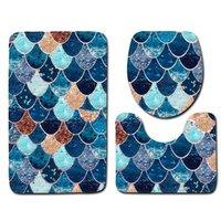 생선 스케일 인쇄 목욕 매트 3pcs / 세트 안티 슬립 욕실 바닥 매트 화장실 커버 러그 욕실 카펫 매트 HWF4811