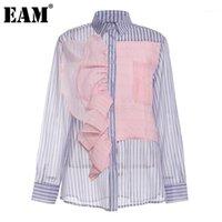 [EAM] Kadınlar Mor Çizgili Ruffles Büyük Boy Bluz Yeni Yaka Uzun Kollu Gevşek Fit Gömlek Moda Gelgit İlkbahar Sonbahar 2021 1DA8331