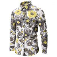 Мужские повседневные рубашки бренда мужская печатная блузка осенний человек этнической рубашки с длинным рукавом тонкие вершины 2021 мужчин одежда1