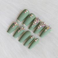24 قطع أحدث حلوى طويلة الباليه اليدوية الكريستال الماس ماتي الأظافر وهمية مثير الأخضر