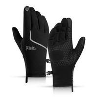 Fünf Fingern Handschuhe Radfahren Winter Für Männer Touchscreen Warme Outdoor Anti-Rutsch Wasserdichte Tragensbeständige Nachtreflektierende Arbeit