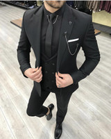 2021 New Groom Wear Trajes de hombre Slim Fit Lapel Peaked One Button Taxedos Prom Best Man Blazer (chaqueta + pantalones + chaleco) 780